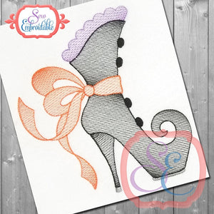 Big Bow Witch Boot Sketch Design - embroidery-boutique