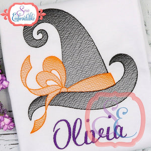 Big Bow Witch Hat Sketch Design - embroidery-boutique