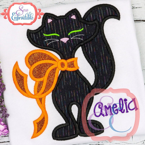 Big Bow Kitty Applique