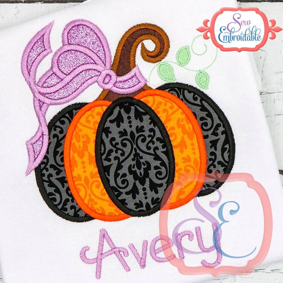 Big Bow Pumpkin Applique, Applique
