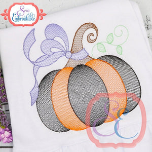 Big Bow Pumpkin Sketch Design