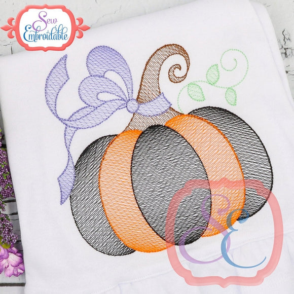 Big Bow Pumpkin Sketch Design - embroidery-boutique