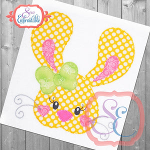 Big Ears Bunny Girl Bean Stitch Applique, Applique