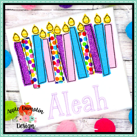 Birthday Candles Bean Stitch Applique Design
