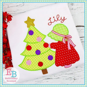 Bonnet Christmas Girl Applique