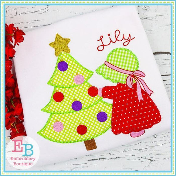 Bonnet Christmas Girl Applique - embroidery-boutique