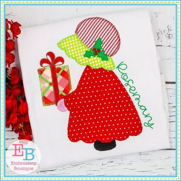 Bonnet Girl Present Applique - embroidery-boutique