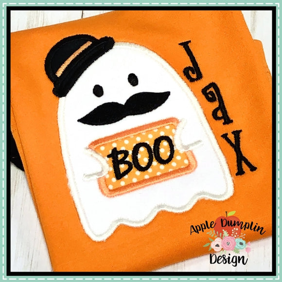 Boo Ghost Moustache Applique Design