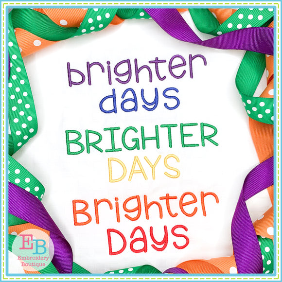 Brighter Days Embroidery Font-Embroidery Boutique
