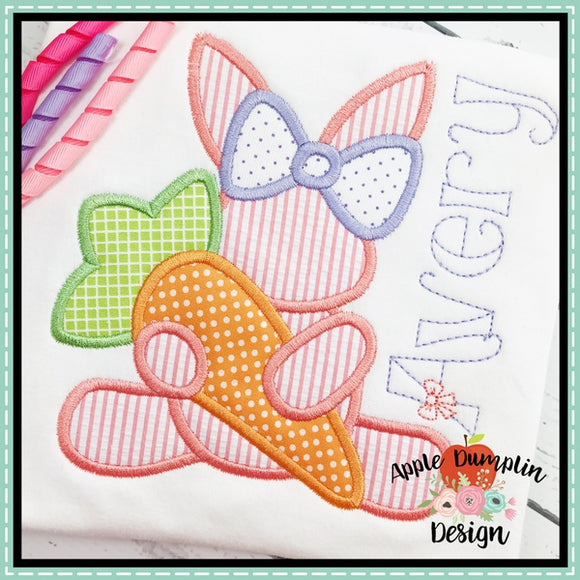 Girl Bunny with Carrot Applique Design