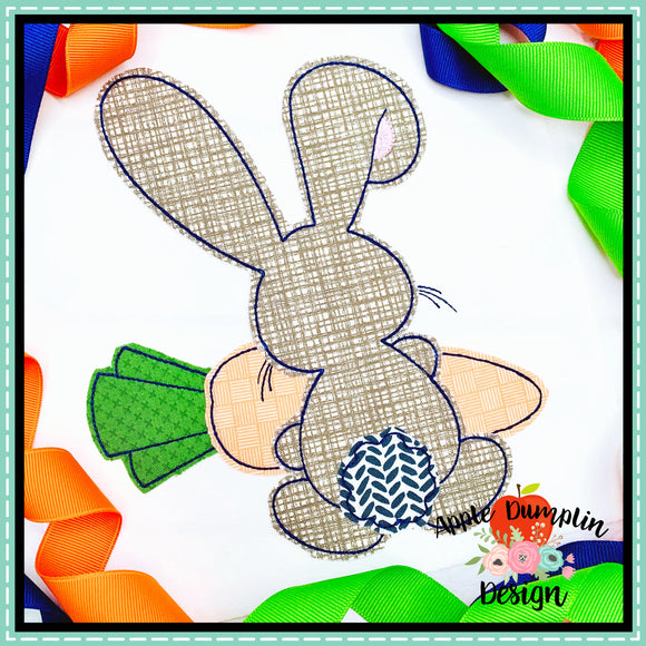 Bunny Backside Boy Bean Stitch Applique Design-Embroidery Boutique
