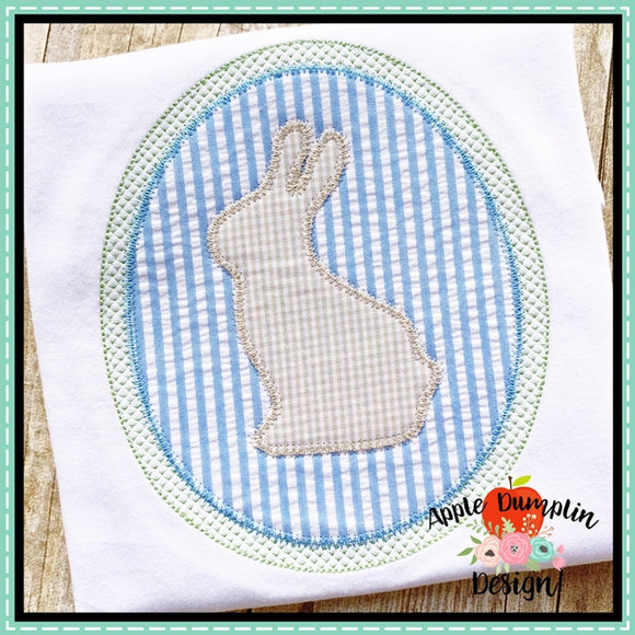 Bunny Oval Zigzag Applique Design