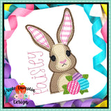 Bunny with Flowers Bean Stitch Applique Design, Applique
