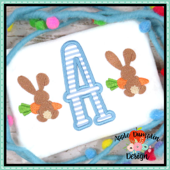 Bunny with Carrot Boy Mini Embroidery Design, applique