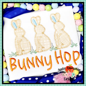 Bunny Trio Zigzag Applique Design, applique
