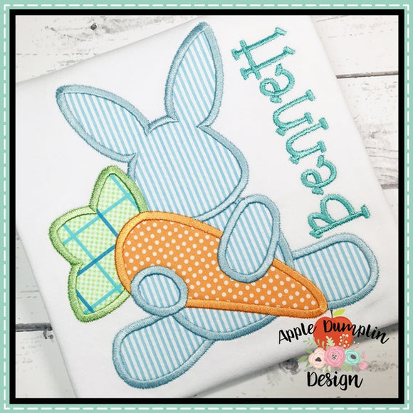 Bunny with Carrot Applique Design