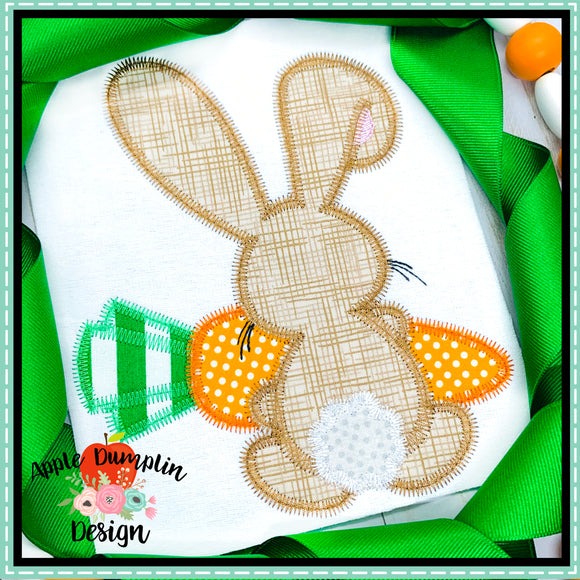 Bunny Backside Boy Zigzag Applique Design, applique