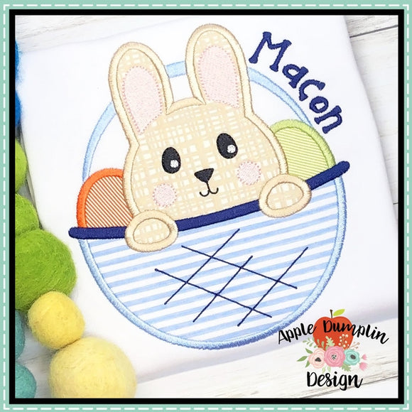 Bunny in Basket Boy Applique Design