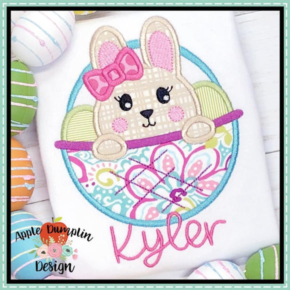 Bunny in Basket Girl Applique Design