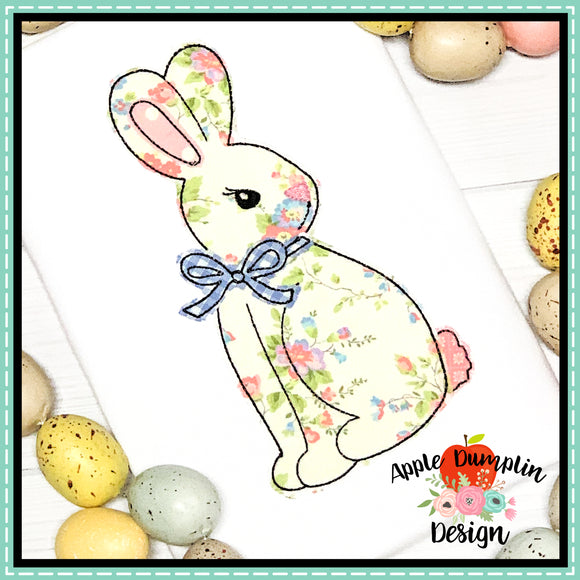 Bunny with Bow Bean Stitch Applique Design