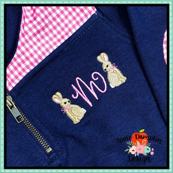 Bunny with Bow Mini Embroidery Design, applique