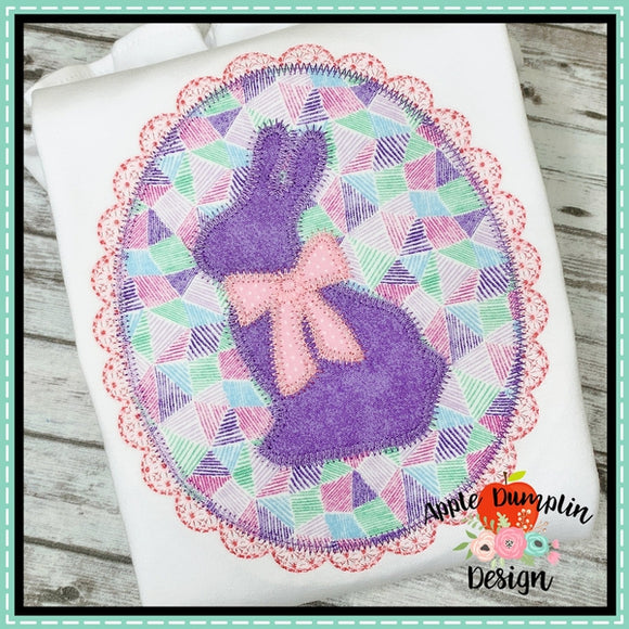 Bunny with Bow Oval Zigzag Applique Design