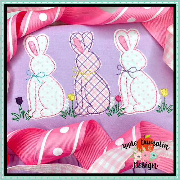 Bunny with Bow Trio Bean Stitch Applique Design, applique
