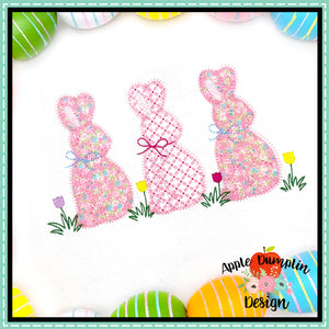Bunny with Bow Trio Zigzag Applique Design, applique
