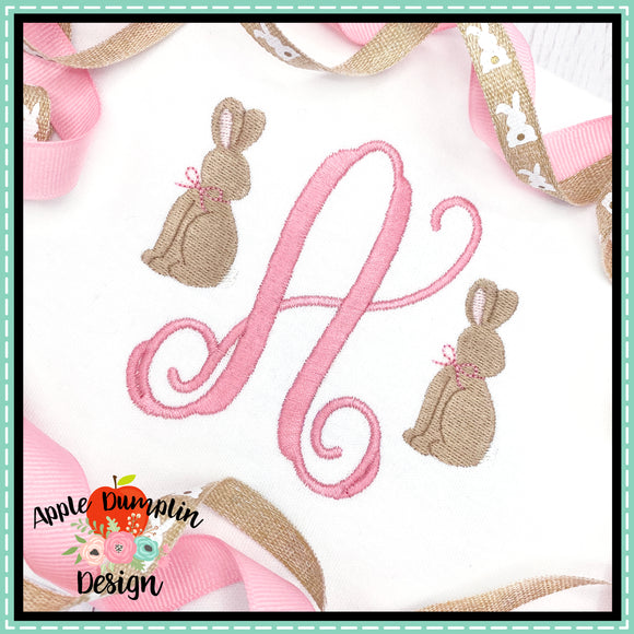 Bunny with Bow Mini Embroidery Design