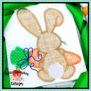 Bunny Backside Girl Zigzag Applique Design-Embroidery Boutique