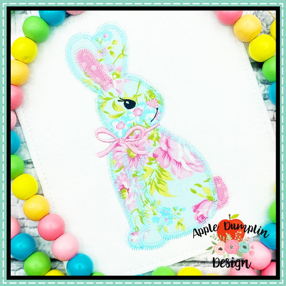Bunny with Bow Zigzag Applique Design, applique