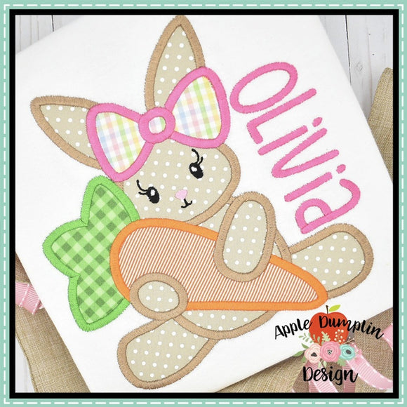 Bunny with Carrot Girl Applique Design, applique
