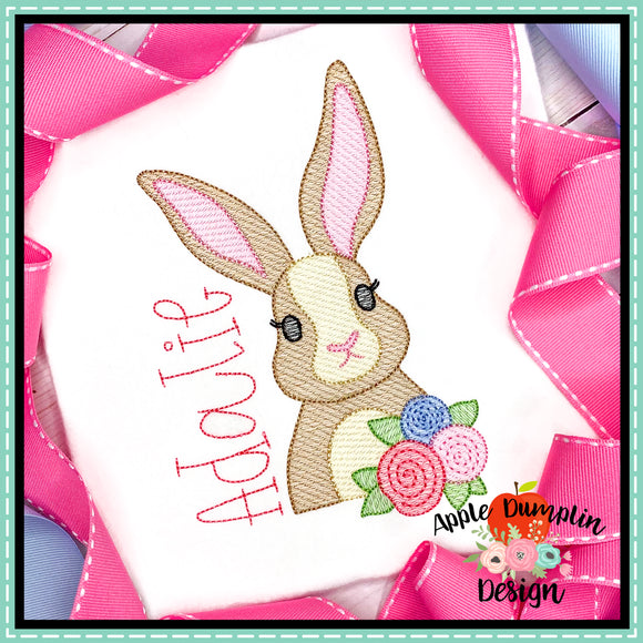 Bunny with Flowers Sketch Embroidery Design, Embroidery
