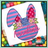 Bunny with Flowers Bean Stitch Applique Design-Embroidery Boutique