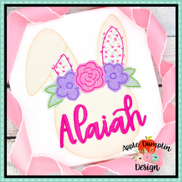 Bunny with Flowers Bean Stitch Applique Design