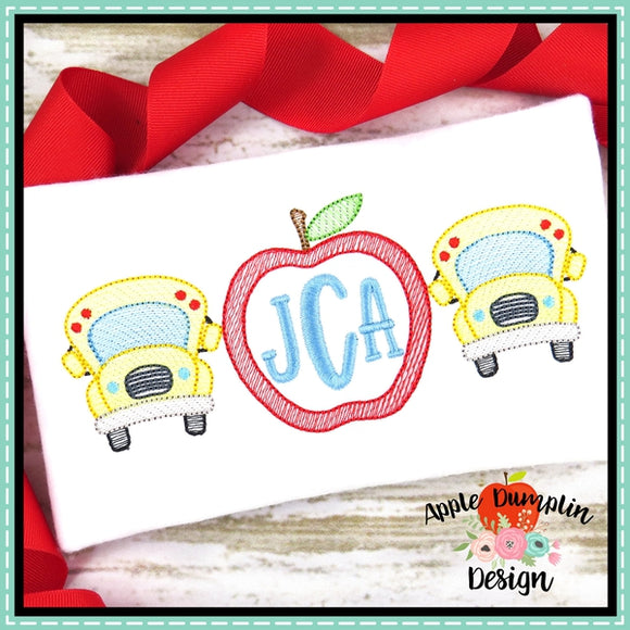 Bus Apple Trio Sketch Embroidery Design