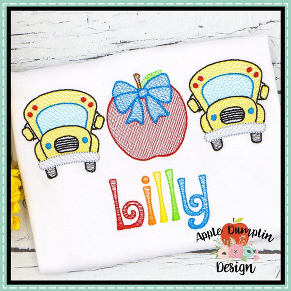 Bus Apple Trio with Bow Sketch Embroidery Design, applique