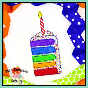 Cake Piece Bean Stitch Applique Design, applique