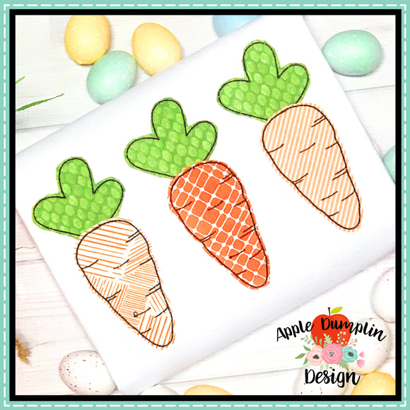 Carrot Trio Bean Stitch Applique Design, applique