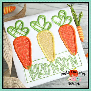 Carrot Trio Satin Applique Design, applique