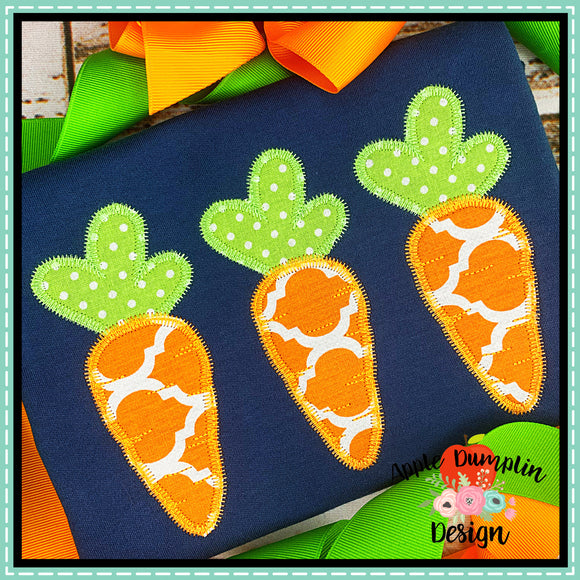 Carrot Trio ZZ Applique Design, applique