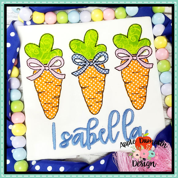 Carrot with Bow Trio Bean Stitch Applique Design-Embroidery Boutique