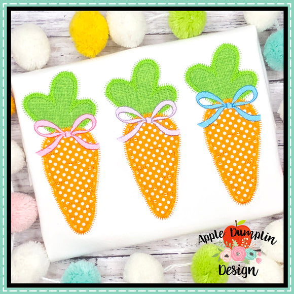 Carrot with Bow Trio Zigzag Applique Design, applique