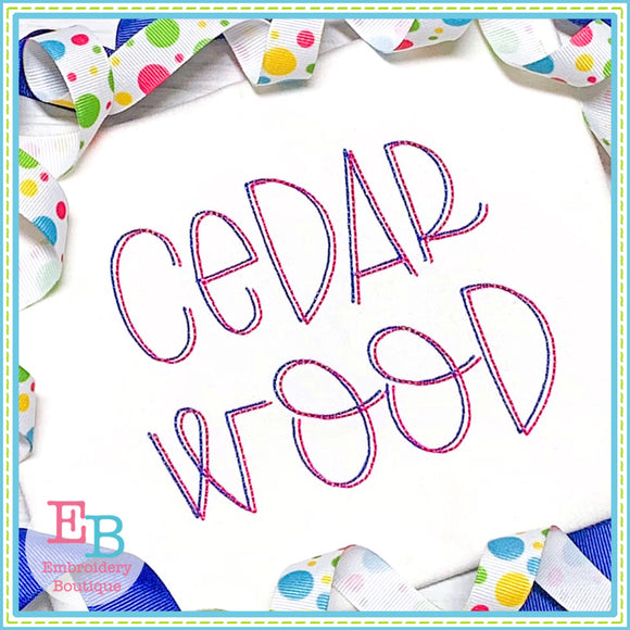 Cedar Wood Bean Stitch Embroidery Font-Embroidery Boutique