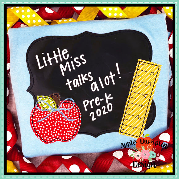 Chalkboard with Bow Bean Stitch Applique Design