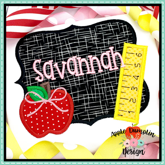Chalkboard with Bow Satin Applique Design, Applique