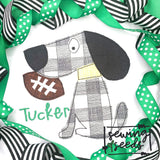 Charlie Dog with Football Applique SS - Sewing Seeds