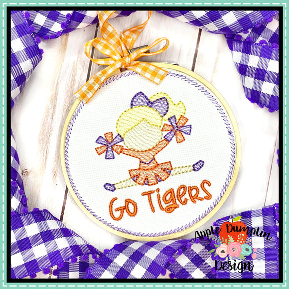 Cheerleader Sketch Ornament Embroidery Design, Embroidery