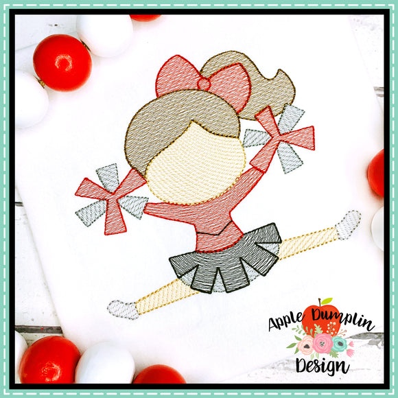 Cheerleader Sketch Embroidery Design, Embroidery
