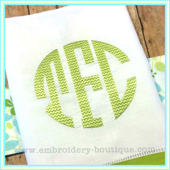 Chevron Circle Monogram Embroidery Font - 3-8 inch, Embroidery Font